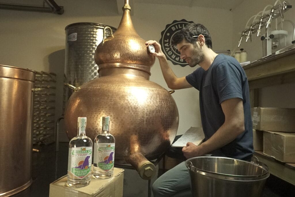 Craft Welsh gin in the process of being made.