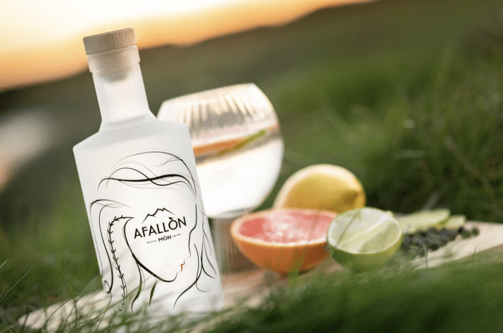 A bottle of gin emerges from wispy grass.